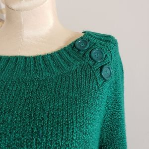Carolyn Taylor green scoop neck sweater size Med